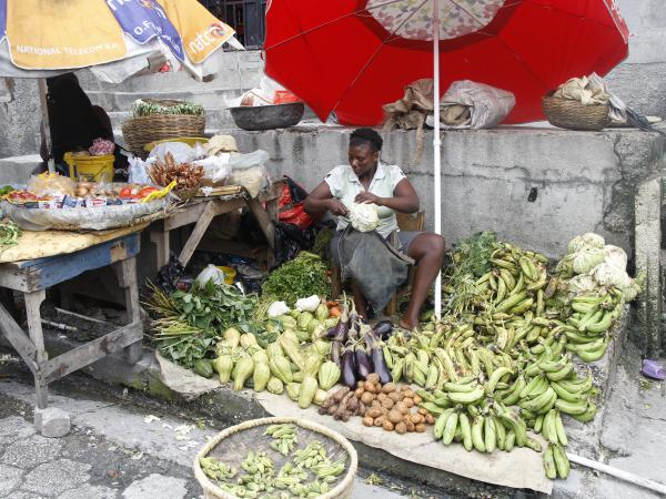 Markets in Grande Ravine, one of the oldest slums in Matissant, a neighbourhood in Port-au-Prince.  Grand Ravine is prone to flooding and is at high risk of landslides during the rainy season. Photo: Kristen Myers