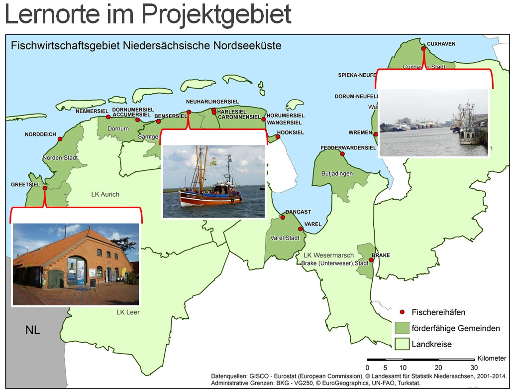 Map of FLAG projects in Germany North Sea region with University of Vechta